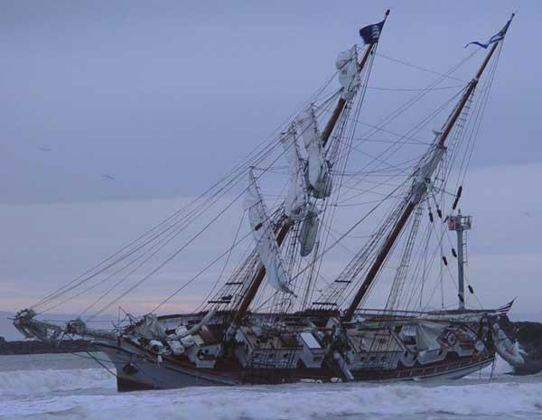 Tall Ship Aground